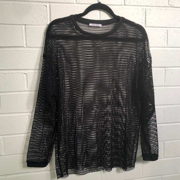Zara Fishnet Top Black Sz Small